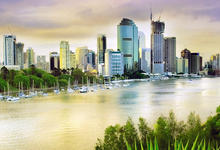 View of Brisbane city across river