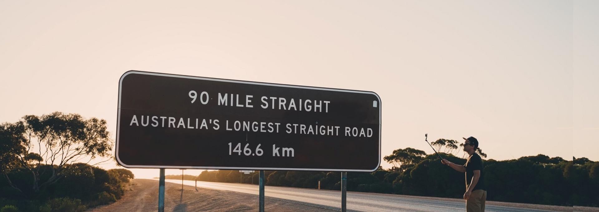 Universal Traveller Road trip traveller at the start of the Nullarbor Plain.